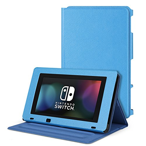 TNP Nintendo Switch Protective Case Portable Play Stand - Adjustable Desktop Flip Multi-Angled View Stand Cover Holder w/ Premium PU Leather Skin Slim Fit For Switch Console Tablet (Blue)