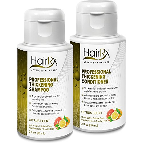 HairRx Professional Thickening Shampoo & Conditioner Travel Set, Light Lather, Citrus Scent, 2 Ounce Bottles