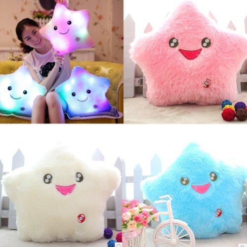 Wuiyepo 7 Color LED parpadeante luz de Smiling Star Cojin almohada (Pink)