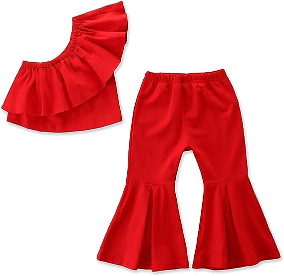 Raysun Conjunto De Pantalones Acampanados De Algodon Con Volados Y Media Hombros Para Ninas Y Bebes 2 100 Cm Amazon Com Mx Ropa Zapatos Y Accesorios