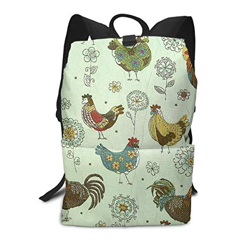 School Shoulder Book Bags, Big Capacity Backpck for School Travel Walking Cycling, Chicken Mural Travel Hiking Bag & Day Pack for Man/Women/College Teen Girls ()