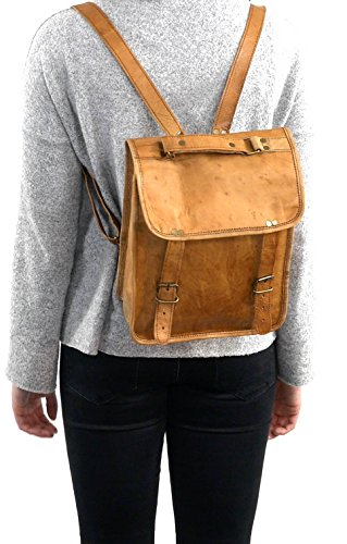 Gusti Leder nature ''Bennie'' zaino di pelle tempo libero città passeggio università lavoro classico vera pelle vintage marrone K60b