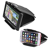 Car GPS Mount Phone Holder with Five Slots Adjustment (2 in 1), Sticky Non-Slip Matte Black Dash Holder for Garmin Nuvi 3.5-6 inch Satnav, Stick On Dashboard Cell Phone Mount for iPhone, Android Phone