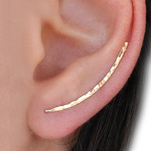 3390a306612e7c Amazon.com: BenittaMoko Handcrafted Hammered Climber Earrings Ear Pins  Crawlers Bar Earrings Ear Jackets Cuffs Gold Filled or Silver: Handmade