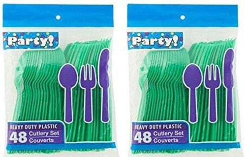 - Heavy Duty Plastic Cutlery Set in Green - 32 Spoons, 32 Forks, 32 Knives