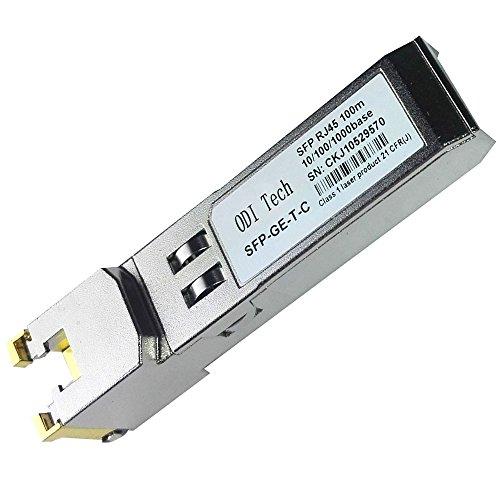 ODI Tech 10/100/1000BASE-T Auto-Negotiation SFP RJ45 Transceiver SFP Module Cisco Compatible GLC-T Gigabit RJ45 Copper Mini-GBIC - 1000Base-T Copper RJ45 SFP Module by ODI Tech