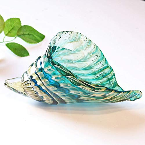 ZAMTAC H&D Hand Blown Glass Murano Art Style Seashell Conch Sculpture Ocean Multi-Color Home Office Table Decoration ()