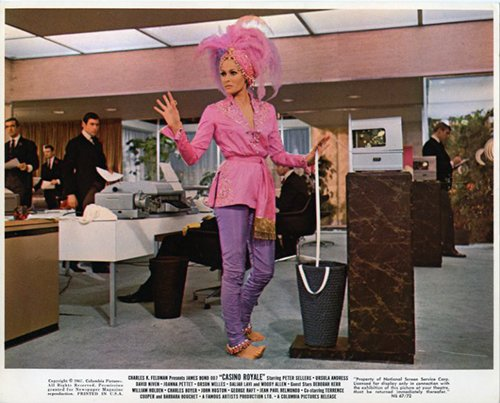 CASINO ROYALE ORIGINAL LOBBY CARD JAMES BOND URSULA ANDRESS BAREFOOT PINK OUTFIT from Silverscreen