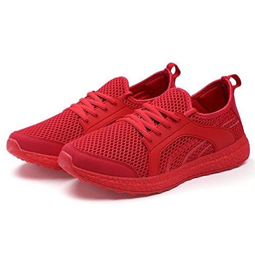 Mxson Dames Casual Sneakers Ultra Lichtgewicht Ademend Mesh Sport Loopschoenen Rood