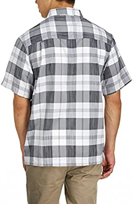 Haggar Men's Short Sleeve Microfiber Plaid Shirt