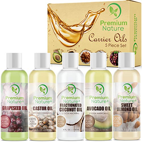 Carrier Oils For Essential Oil - 5 Piece Variety Pack Gifts Sets Coconut Oil Castor Oil Grapeseed Oil Avocado Oil & Sweet Almond Best Oils for Stretch Mark Dry Skin Body