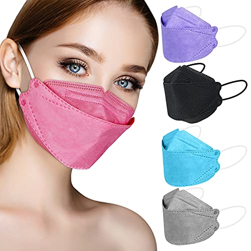 KF94 Face Mask Individual Packed, Disposable Colored Mask for Women Men, 4-Layers Filtered Form Fitting Folded Protective Mask for Easy Breath Talk, Adjustable Nose Wire Mask Snug Fit Non Fog - 20 Packs