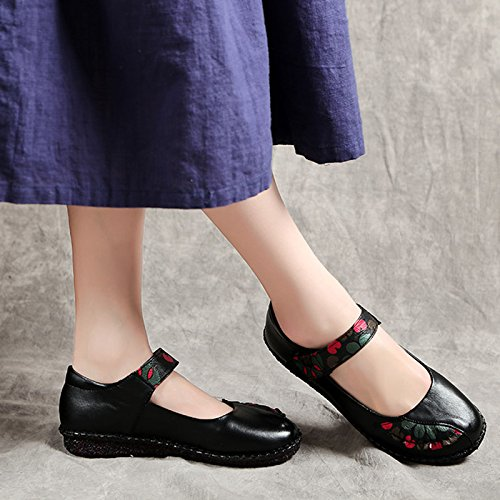 Women's Real Leather Comfort Casual Round Toe B07CH956VX Mary Jane Flat Shoes B07CH956VX Toe 7.5 B(M) US|Black 0f5b82