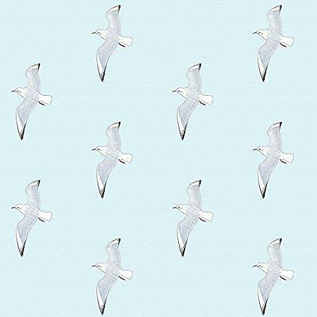 Designer Seagulls Birds Linen Look Cotton Fabric Curtain Upholstery Quilting