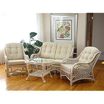 Amazon Com Malibu Rattan Wicker Living Room Set 4 Pieces