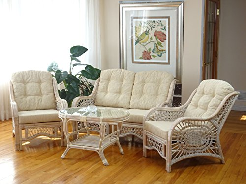 Malibu Lounge Set of 4: 2 Natural Rattan Wicker Chairs, Loveseat with Cream Cushion and Coffee Table w/Glass Handmade, White Wash 48' Wicker Coffee Table