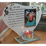 His smile - Inspirational poem, candle and photo holder glass memorial plaque by Thorness