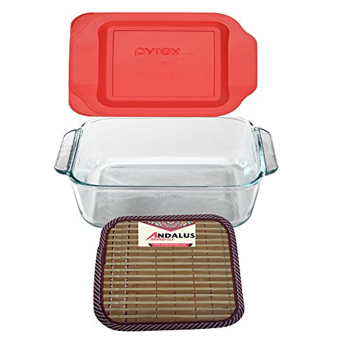 Pyrex 8-Inch Square Baking Dish with Red Plastic Lid, Brownies Pan - Includes Bamboo Hot Pad by Andalus
