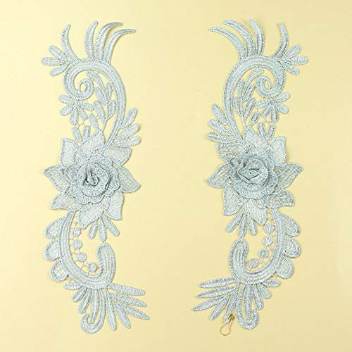 Handmade Flower Embroidered Lace Trims Dress Appliques Sewing Craft DIY 1 Pair (Color - #8 + Silver)