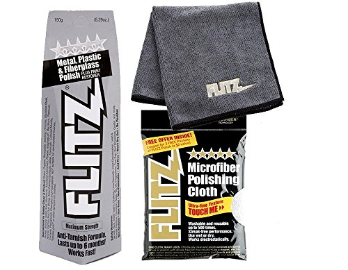 Flitz BU 03515 5.29 oz Blue Metal, Plastic and Fiberglass Polish Paste with LARGE Microfiber Cleaning Cloth COMBO