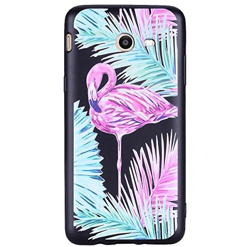 Funda Samsung Galaxy J5 2017(Versión US), EUWLY Negro Silicona Fundas para Samsung Galaxy J5 2017 Goma Gel Suave TPU Cárcasa Caso con Pintura Dibujos Impresión En Relieve Patrón Bumper Case Cover Ultr Hojas flamenco