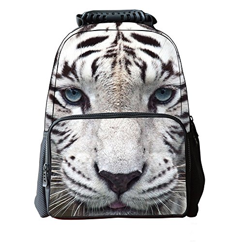 Tiger Backpack - Skymoon Children's 3D Animal School Backpacks (16 Inch,White Tiger)
