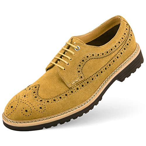 (GM GOLAIMAN Men's Suede Wingtip Dress Shoes Stylish Oxfords Lace-Up Brogue Shoes Yellow 11 (M) US)