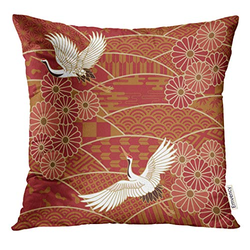 VANMI Throw Pillow Cover White Bird Two Cranes and Chrysanthemums Japanese Traditional Wave Pattern Beige Japan Oriental Decorative Pillow Case Home Decor Square 18x18 Inches Pillowcase ()