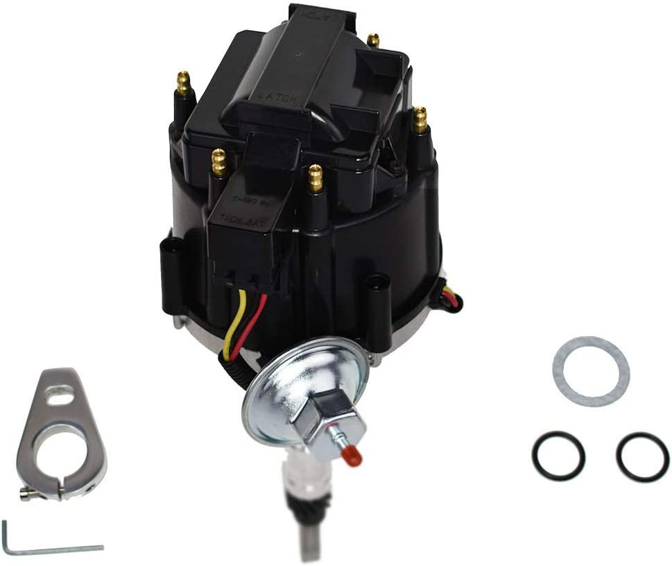 A-Team Performance 65K COIL HEI Distributor Black Cap and Pigtail Wiring Harness 3-in-1 Kit Compatible with Straight 6 41-62 194 216 235 68-87 Early Chevrolet T Red Spark Plug Wires Set