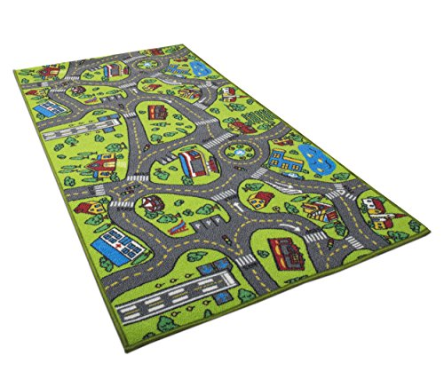 Kids Carpet Playmat Rug City Life Great for Playing with Cars and Toys - Play, Learn and Have Fun Safely - Kids Baby, Children Educational Road Traffic Play Mat, for Bedroom Play Room Game Safe Area -