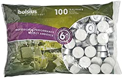 Bolsius Unscented 6 hour Tea Light Candles Long Burning Wedding Party Tea Lights 100 In Bag (White)
