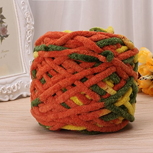 100g/1ball Soft Cotton Hand Knitting Yarn Chunky Woven Bulky Crochet Thick for Scarf Somethings(Orange Green -