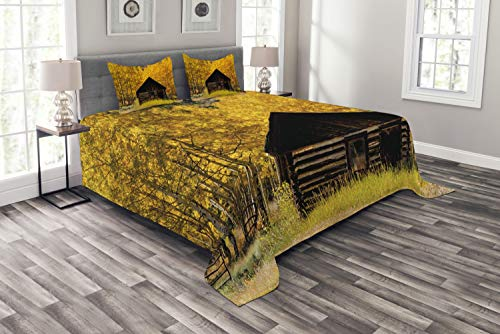 Ambesonne Autumn Bedspread Set Queen Size, Abandoned Wooden Farmhouse in Fall with Aspen Trees Rural Pastoral Nature Scene, 3 Piece Decorative Quilted Coverlet with 2 Pillow Shams, Brown Yellow
