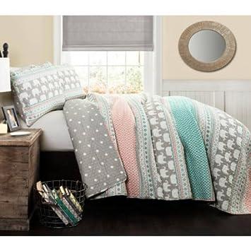 Better Homes And Gardens Elephant Stripe Bedding Quilt Set, Playful Pastel  Colors, Fun Design