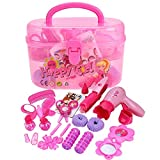corner makeup vanity set Girls Pretend Play Hair Styling Set Including Hair Dryer Comb Curler Scissors Mirror and More