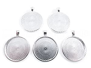 """20 CleverDelights Round Pendant Trays - Shimmering Silver Color - 25mm 1"""" Diameter - Pendant Blanks Cameo Bezel Cabochon Settings - 25 mm 1 Inch"""