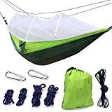 Camping Hammock, Trofoty Portable Hammock with Mosquito Net Parachute Nylon Fabric Lightweight Hammock for Beach, Traveling, Hiking, Mountain,Adventure,Outdoor Jungle