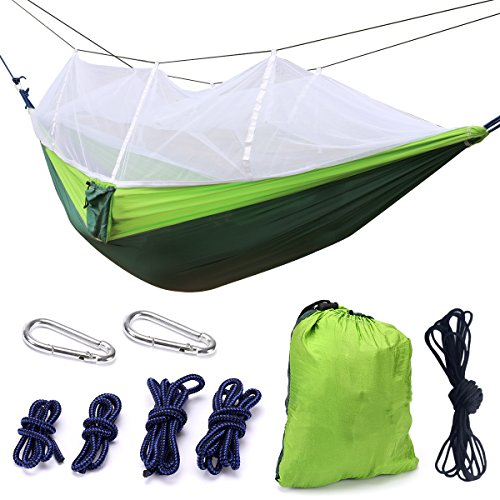 Camping Hammock, Trofoty Portable Hammock with Mosquito Net Nylon Fabric Hammock for Beach, Traveling, Hiking, Mountain,Adventure,Outdoor Jungle
