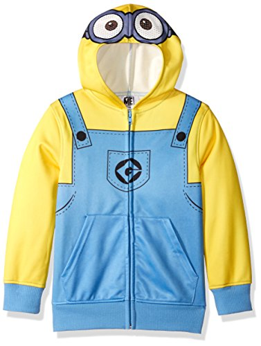 (Despicable Me Big Boys' Minion Fleece Zip Costume Hoodie, yellow,)