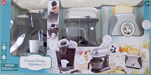 GOURMET Child Size KITCHEN APPLIANCES (Silver/Gray & Black) w Battery Operated COFFEE MAKER (Dispenses Water), Battery Operated MIX MASTER, and TOASTER has POP-UP Action