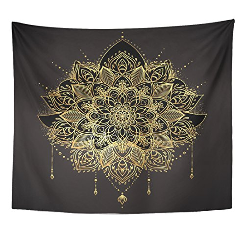 - TOMPOP Tapestry Ornamental Lotus Flower Ethnic Patterned Indian Paisley Golden Flash Home Decor Wall Hanging for Living Room Bedroom Dorm 50x60 Inches