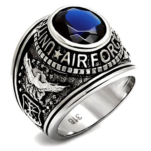 Drop of Silver Stainless Steel US Air Force USAF Military Ring with Blue Stone, Size 13