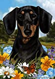 Cheap Dachshund B/T – Best of Breed Summer Flowers Large Flags
