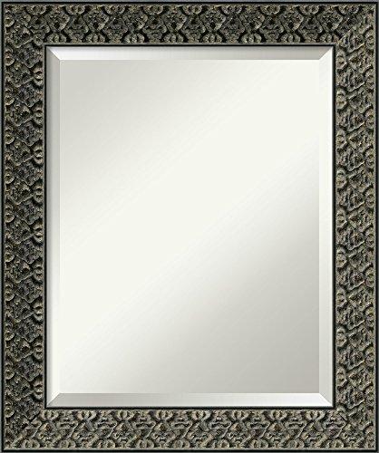 Amanti Art Vanity Bathroom Wall   Intaglio Embossed Black Frame   Solid Wood Mirror  , Glass Size 16x20,