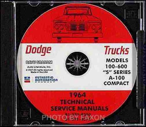 1964 DODGE TRUCK & PICKUP REPAIR SHOP & SERVICE MANUAL CD INCLUDES D100, D200, D300, D400, D500, D600, W100, W200, W300, P-SERIES, S-SERIES, A100, A40, A50. A60, Power Wagon, Compact, Sportsman, Wagon, Panel, Van, Custom 2x4, 4x4. 64