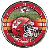 Kansas City Chiefs Round Chrome Wall Clock - Licensed NFL Football Merchandise