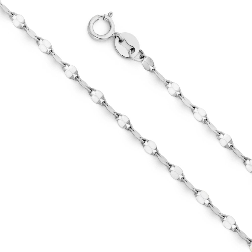 14K Yellow OR White Solid Gold 2mm Twisted Mirror Chain Necklace with Spring Ring Clasp Ioka