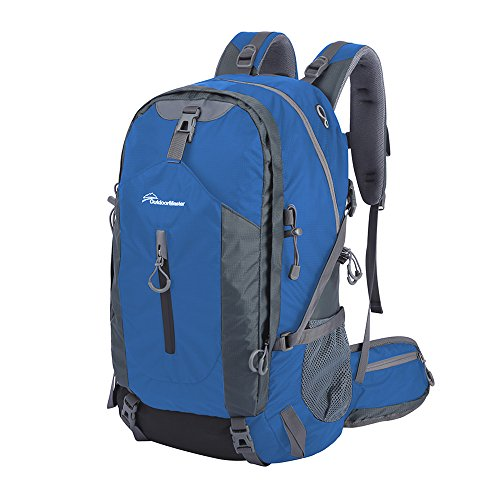 [OutdoorMaster Hiking Backpack 50L - Weekend Pack w/ Waterproof Rain Cover & Laptop Compartment - for Camping, Travel, Hiking (Blue/Grey)] (Hiking Travel Backpack)