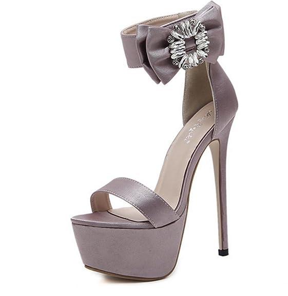 Sandales à Talons pour Femmes,KitzenFashion Ladies Womens Pearl Open Toe Sandalswedge Pompes Chaussures Cheville Talons Hauts Plateforme Chaussures Party Taille, Pink, 36