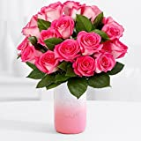 ProFlowers - 18 Pink Pearl Roses (with FREE glass vase) - Flowers